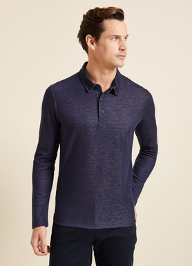 8681946132110 Slim Fit Dokulu Polo Yaka Sweatshirt