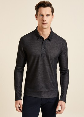 8681946132219 Slim Fit Dokulu Polo Yaka Sweatshirt